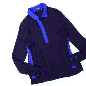 Elie Tahari Silk Blue Color Block Long Sleeve Top